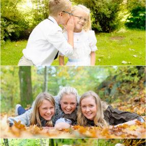 Fotografier av syskon, i höstmiljö.